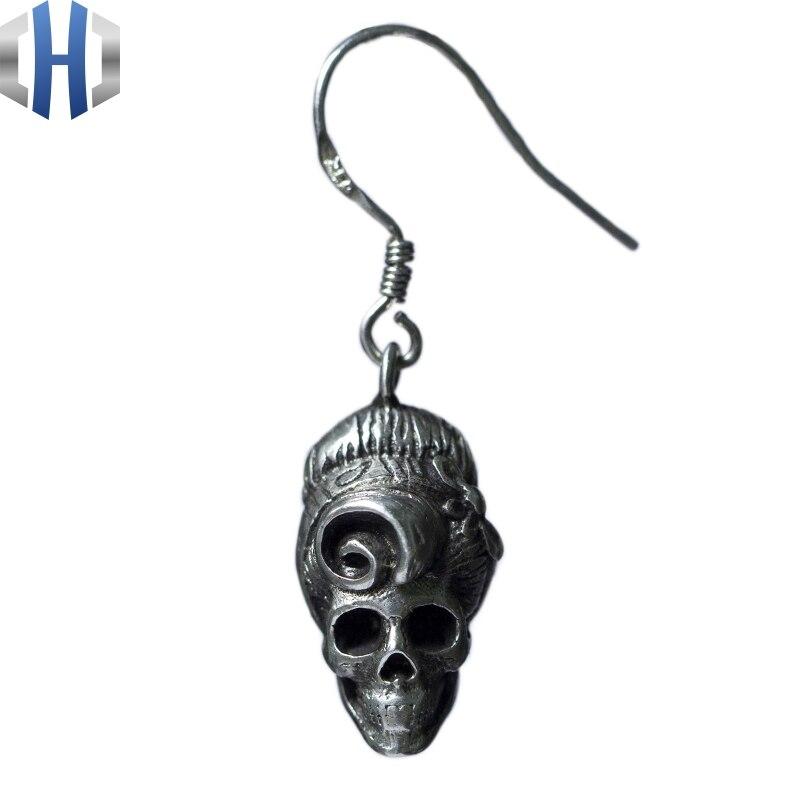 Original Design fait à la main en argent crâne boucles d'oreilles personnalité oreille crochet 925 en argent Sterling boucles d'oreilles femme rétro - 3