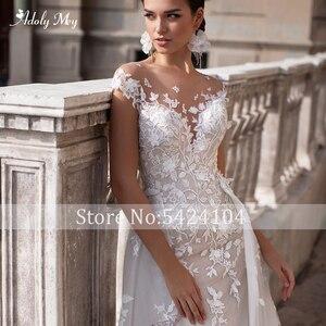 Image 3 - Adoly Mey Romantische Hals Cap Sleeve Mermaid Wedding Jurken 2020 Prachtige Applicaties Afneembare Trein Prinses Bruids Jurk