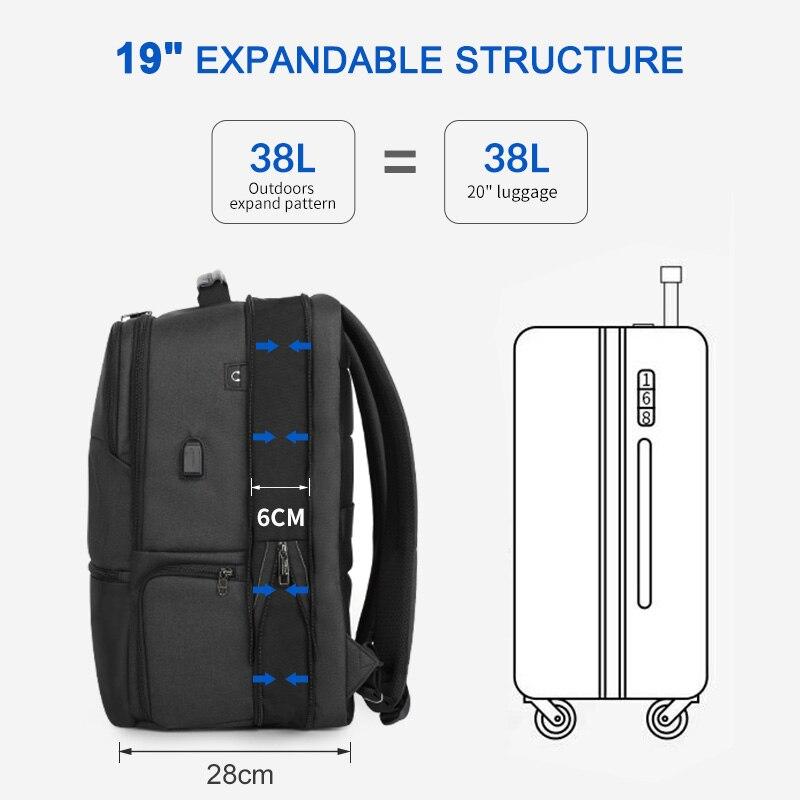 Tigernu توسيع ظهره الرجال ل 15.6 19 بوصة محمول/الكمبيوتر الظهر مع RFID و USB شحن مكافحة سرقة mochila الذكور جديد-في حقائب الظهر من حقائب وأمتعة على  مجموعة 3