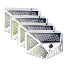 Vier-Seiten 100 LED Solar Wand Licht Outdoor Solar Lampe Powered Sonnenlicht 3 Modi PIR Motion Sensor Wasserdichte Garten dekoration(China)