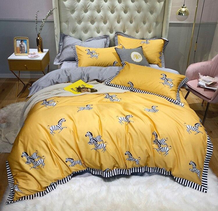 100% puro algodón 2019nuevo juego de ropa de cama de dibujos animados adorable cebra impreso amarillo edredón cubierta de Color sólido gris sábana doble reina rey - 5