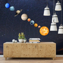 цена на 9-Planet Solar System Pattern Luminous Wall Sticker Home Wall Decoration For Kids' Bedroom Living Room