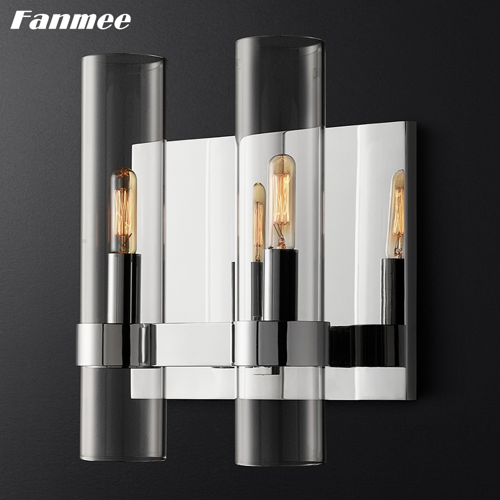 Vintage Minimalist Glass Wall Lamp LED Golden Metal Wall Sconce Retro Double Lampbody Indoor Light Fixture for Bathroom