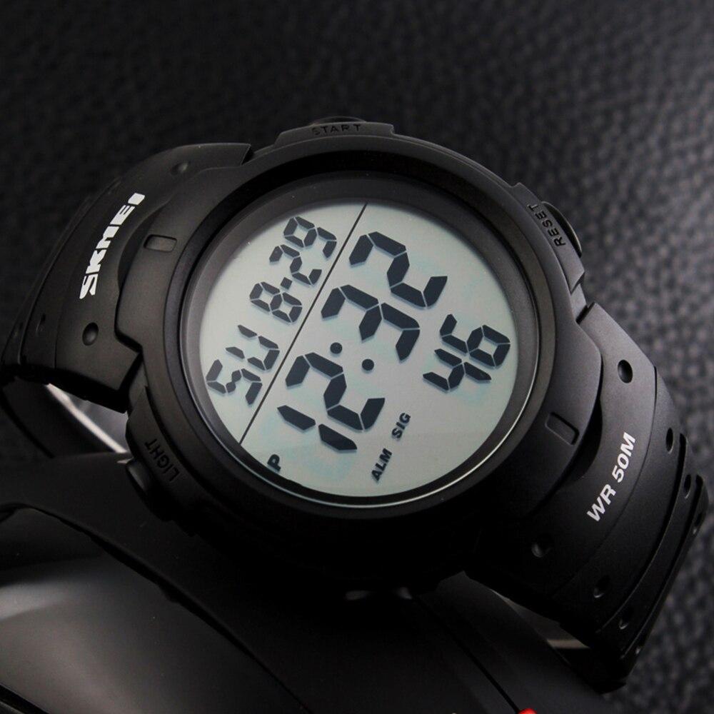 SKMEI Outdoor Sport Watch Men Big Dial Fashion Simple Watches Calendar PU Strap 5Bar Waterproof Digital Watch reloj hombre 1068