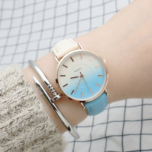 New Women Watches Multicolor Gradient Bracelet Ladies Casual Fashion Leather Ultra-thin Watch Quartz Gift Clock relogio feminino