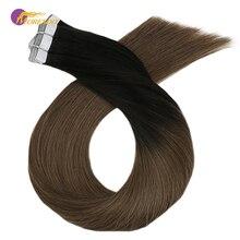Moresoo, 14-24 дюйма, человеческие волосы для наращивания на ленте, Омбре, блонд, настоящая машина, Remy, клейкие бразильские волосы, 2,5 г/шт., 25 г-100 г