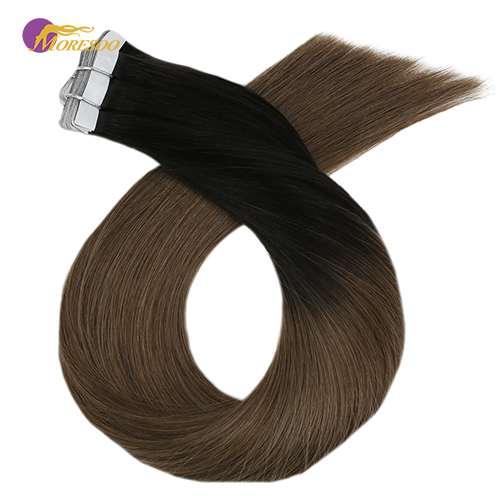 Moresoo 14-24 Inch Tape In Human Hair Extensions Ombre Blonde Color Real Machine Remy Adhesive Brazilian Hair 2.5g/pc 25g-100g