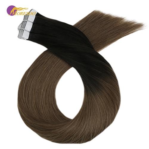 Moresoo, 14 24 дюйма, человеческие волосы для наращивания на ленте, Омбре, блонд, настоящая машина, Remy, клейкие бразильские волосы, 2,5 г/шт., 25 г 100 г