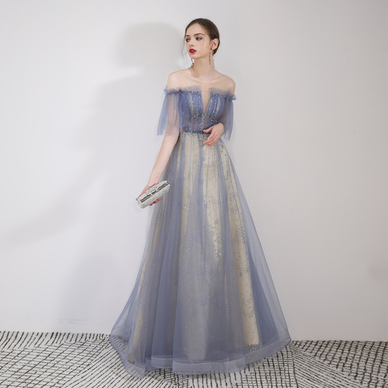 YIDINGZS 2019 New Tulle Long Evening Dress Elegant Glitter Evening Party Dress