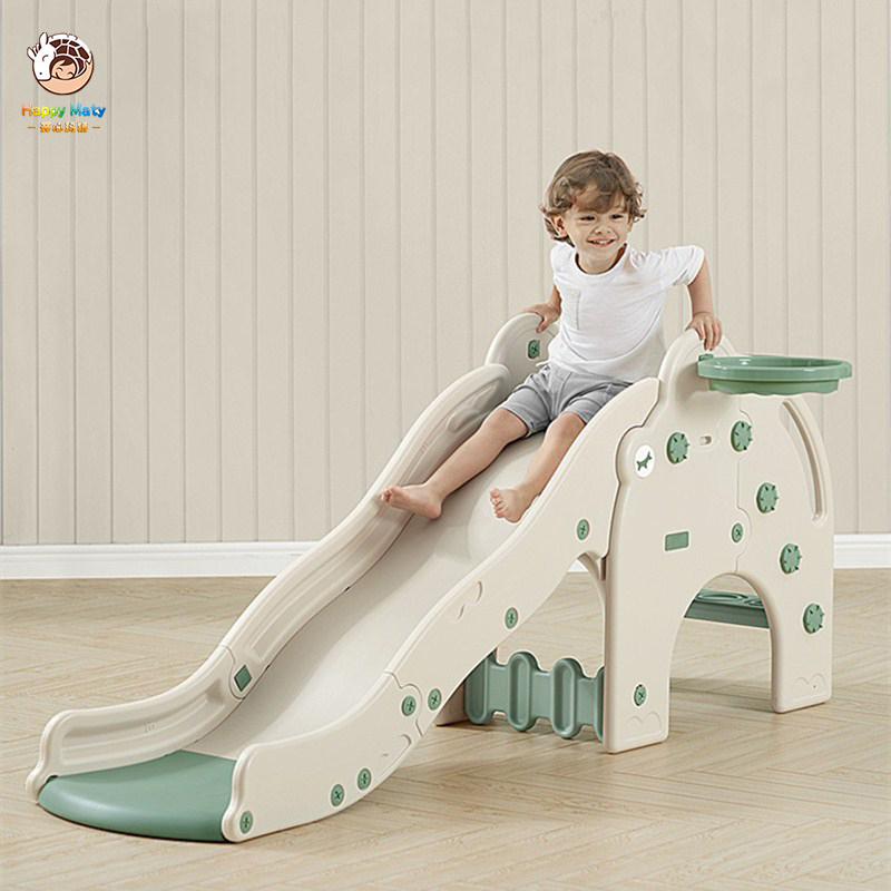 Happymaty Baby Slide With Basketball Hoop Children Indoor Home Kindergarten Playground Kids Small Slide Toys