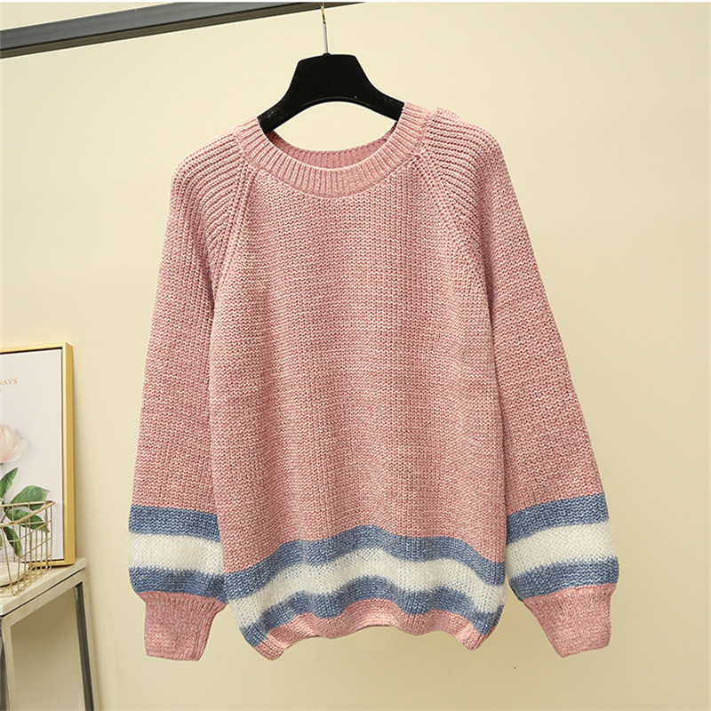 Popular Stripe Fashion O-Neck Loose Warm Knitted Sweater Pullover Autumn Knitwear Sueter Mujer Long Sleeve   Winter Women New