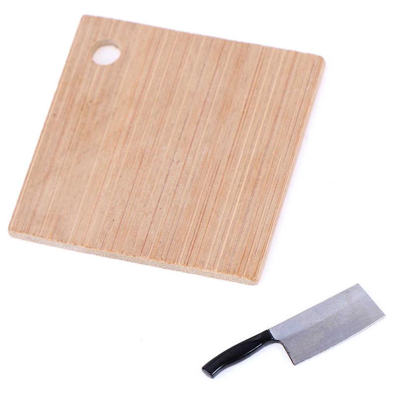 Lucu 1:12 Miniatur Dapur Sarapan Adegan Roti Telur Tepung Kue Makanan Pisau Memotong Blok Set Rumah Boneka Dapur Aksesoris