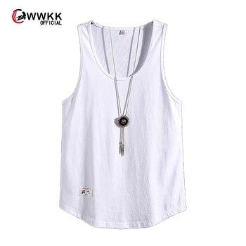 2020 Men's Summer Cotton Large Size Vest Casual Breathable Cutout Sleeveless Men's Loose Solid Color Summer Vest M-3XL 1