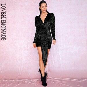 Image 4 - אהבה & לימונדה סקסי שחור עמוק V צוואר סרט פלאש קטיפה חומר בועה ארוך שרוול המפלגה מיני שמלת LM81992