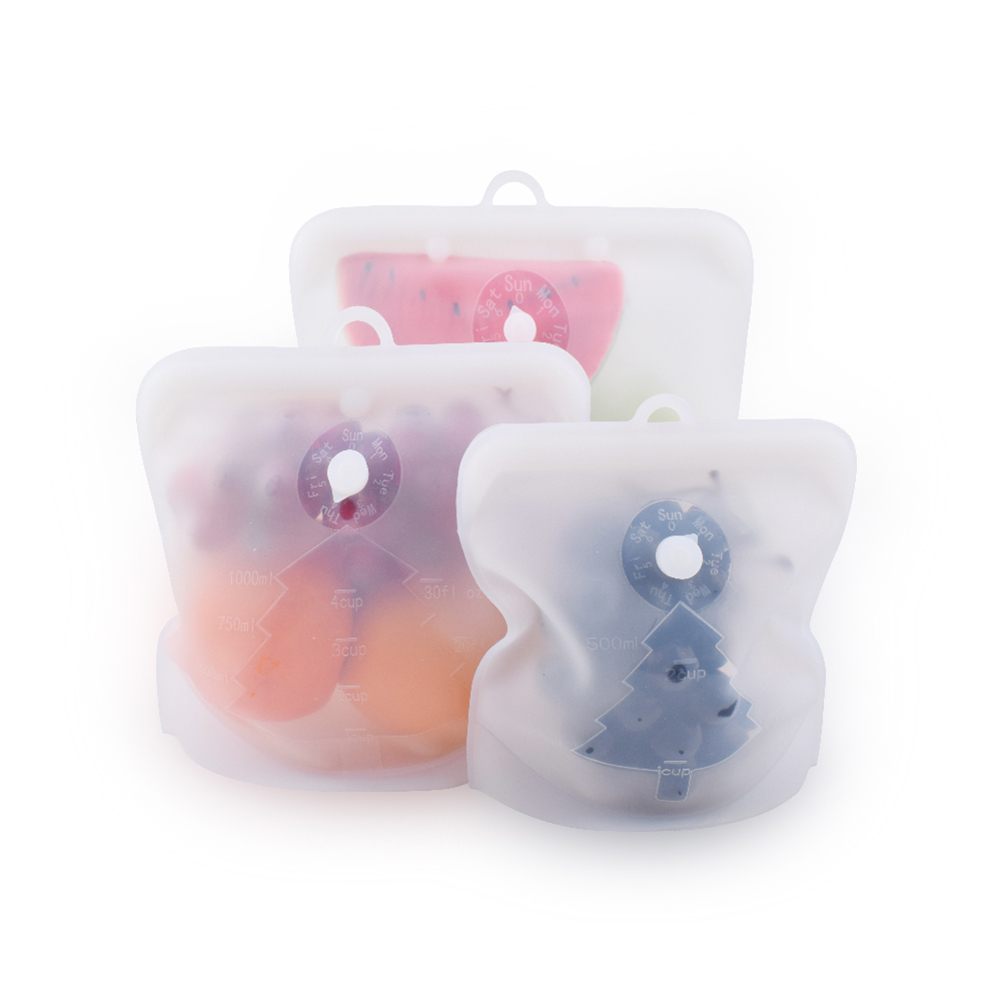 1Pc Silicone Food Bag Fresh Sealed Bags Reusable Preservation Zero Waste Ziplock Storage Containers