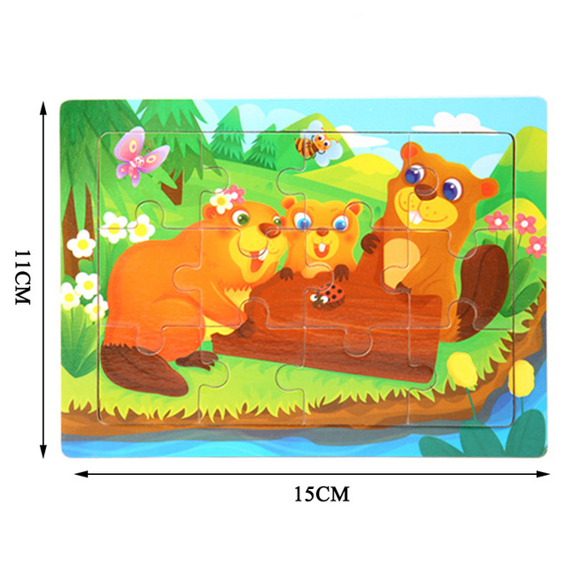 12 Slice Simple Wooden Jigsaw Puzzle Cartoon Animal Vehicle Wood Toy for Kids Baby Early Educational Learning Toys Gift