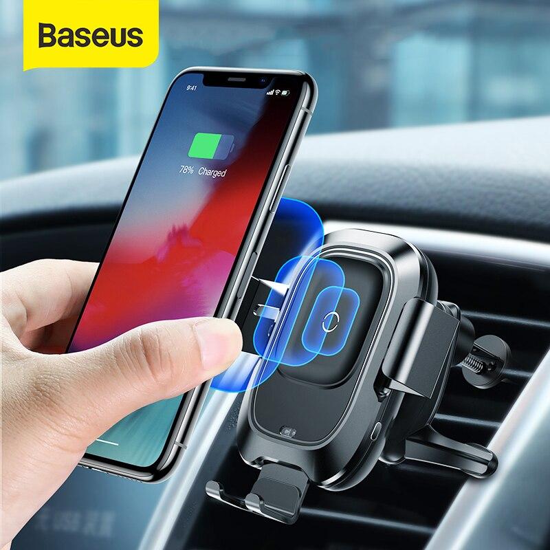 Baseus Car Phone Holder Qi Wireless Charger for iPhone Samsung Intelligent Infrared Sensor Charging Air Vent Car Phone StandUniversal Car Bracket   -