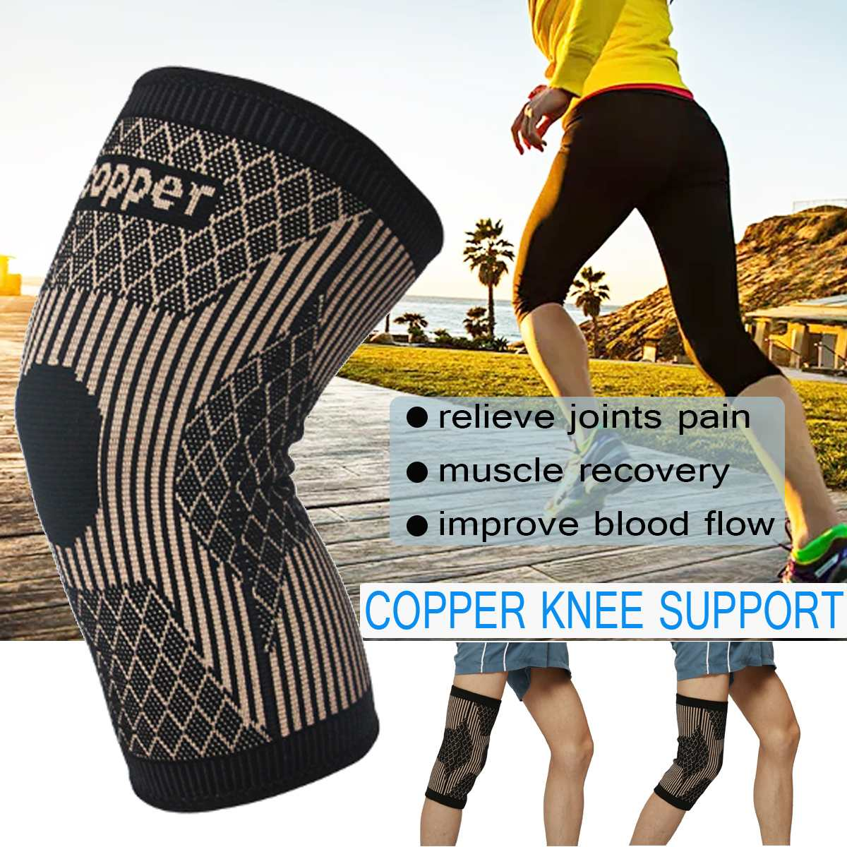 Copper Knee Protector Pad for Arthritis Leg Brace Knee Brace Support Patella Kneepad Leg Protector Wrap Personal Health Care