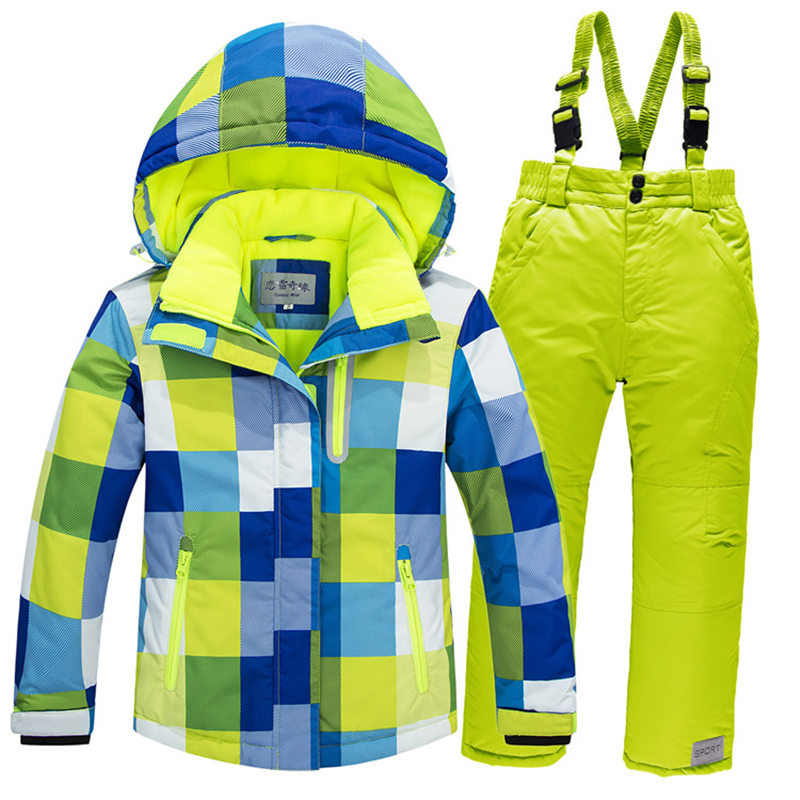 -30 Children Snow Wear Outdoor Ski Suit Set Waterproof Windproof Warm Costume Winter Ski Jacket + Bib Pant For Boys And Girls
