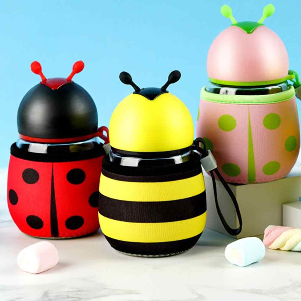 300ml Glass Water Bottle Cartoon Cute Bee Ladybug Water Bottle  Portable Hot-proof Drink Kettle Children Gifts Water Bottle