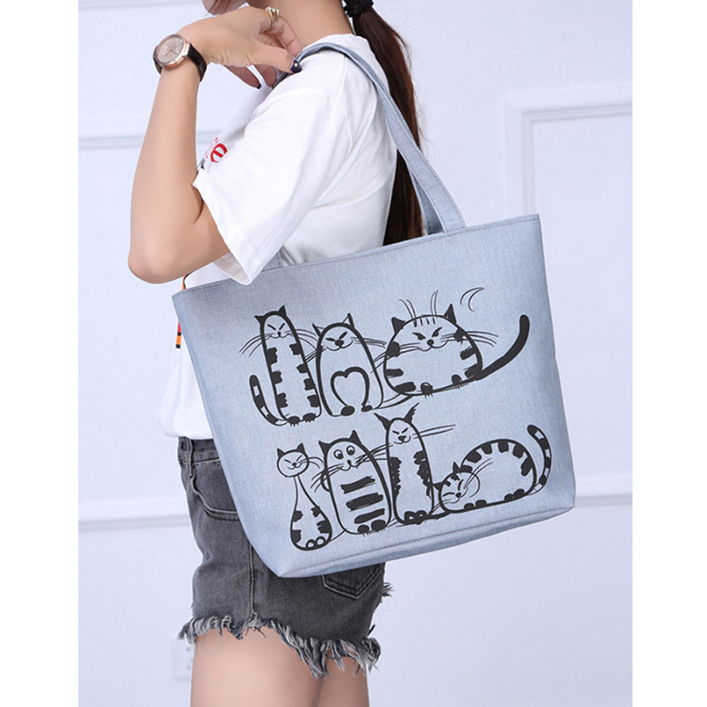 Women Cute Cartoon Cat Print Canvas Shoulder Bag Zipper Casual Tote Shopping Handbag MUG88