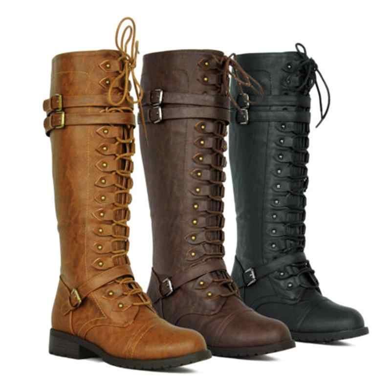 Kadın diz yüksek çizmeler sonbahar kış dantel Up düz ayakkabı seksi Steampunk PU Retro toka bayan ayakkabı bayan kar botları