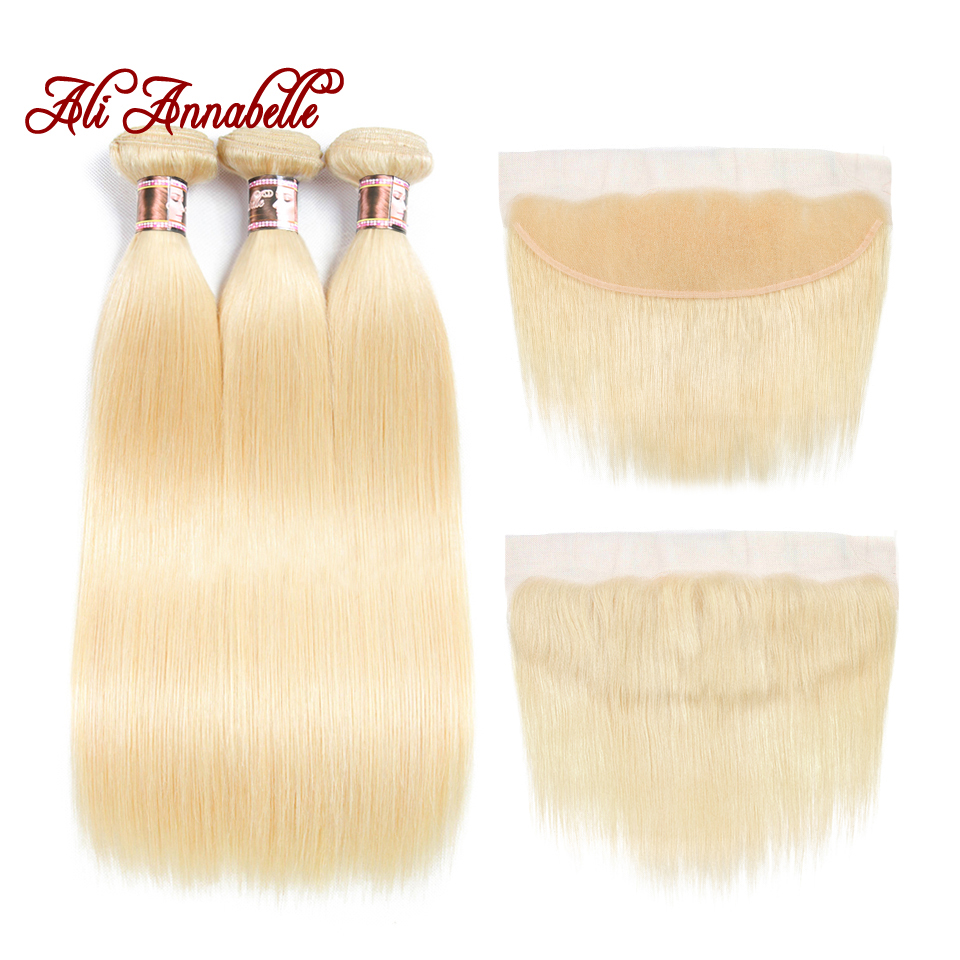 Ali Annabelle Hair Brazilian Straight 3 Bundles With 13*4 Lace Frontal Closure 100% Human Hair Weaving 613 Blonde Remy Hair