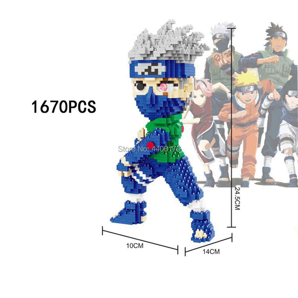 ¡Oferta! Figuras de personajes japoneses lepin de anime de Hokage ninja, figuras de Hatake Kakashi de Narutos Uzumaki, minibloques de diamantes, bloques de regalo
