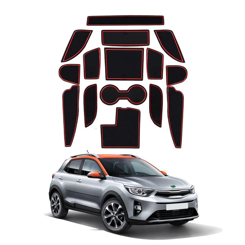 LFOTPP Car Door Groove Mat For Kia Stonic 2018 2019 2020 Car Anti-slip Mat Rubber Gate Slot Pad Interior Accessories Red 15Pcs