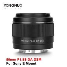 Yongnuo 50 millimetri F1.8 F1.8S DA DSM Lente Auto Foucs per Sony E Mount Fotocamera APS C A6300 A6400 A6500 AF lente