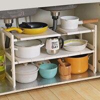 Organizador para fregadero expandible, suministros de cocina de 1/2 niveles, organizador de armario, olla, sartén, estante de especias, estante de almacenamiento para cocina, baño