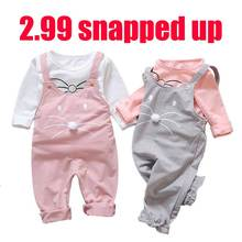 Baby girl #8217 s clothes strap suit baby girl clothes cartoon print cotton casual t-shirt + bib baby girl cute clothes two-piece cheap NoEnName_Null Polyester O-Neck Sets Pullover Full REGULAR Fits true to size take your normal size Woolen Cotton polyester