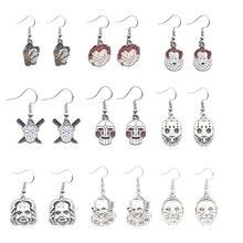 Chucky Face Stephen Kings IT Penny Wise Jason Hockey Horror charm Dangle Earrings For Man&Woman Halloween Earring Jewelry Gifts