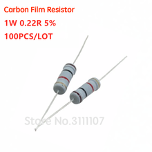 100PCS 1W 0.22 Ohm 5% Resistor 1W 0.22R 0R22 Ohm Carbon Film Resistor +/- 5% 1W Color Ring Resistance