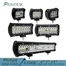 PANDUK 4 7 15 дюймов светодиодный светильник для автомобиля, трактора, лодки, внедорожника, 4WD 4x4, грузовика, внедорожника, ATV, вождения 12 В, 24 В, 18 Вт, 60 Вт, 72 Вт, 120 Вт