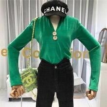 Fashion Button Womens Tops and Blouses V-Neck High Street Solid Velvet 2019 Winter Warm Blusas Femininas Elegante Shirt