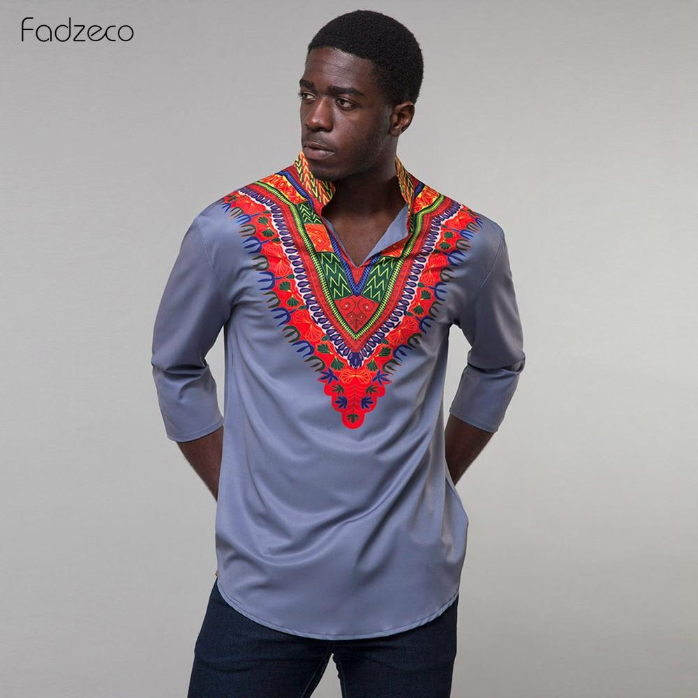 Fadzeco African Men's Long Shirt Plus Size Standing Collar Tribal Tops Dashiki Traditional Print Casual African Men's Clothing