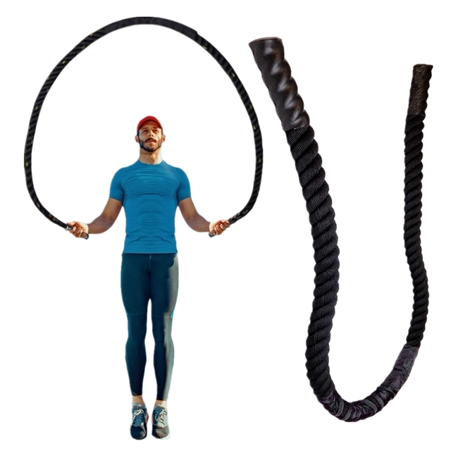 25mm Fitness Heavy Jump Rope Crossfit Weighted Battle Skipping Ropes Power Training Enhance Strength Building Muscle Fitness