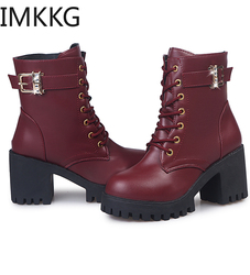 2019 Top Quality pu Leather Women Boots Dr Martin Boots Shoes Motorcycle Autumn Winter Shoes Woman Snow Boots Ladies Footwear