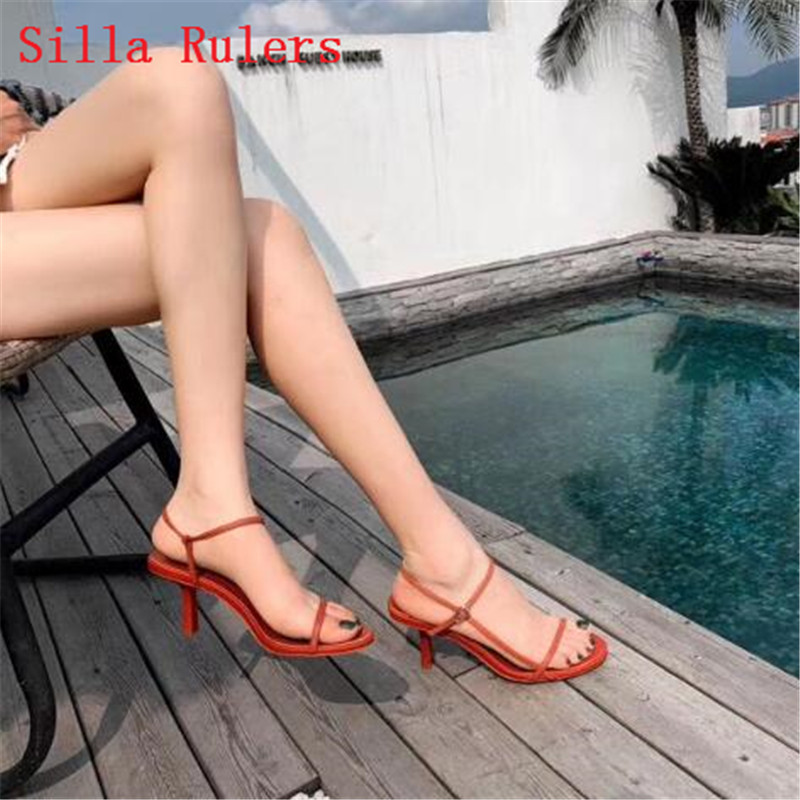 Trendy Thin Word Band Women Sandals 2019 Simple High Heels Leather Gladiator Sandals Women Summer Shoes Woman sandalias mujer