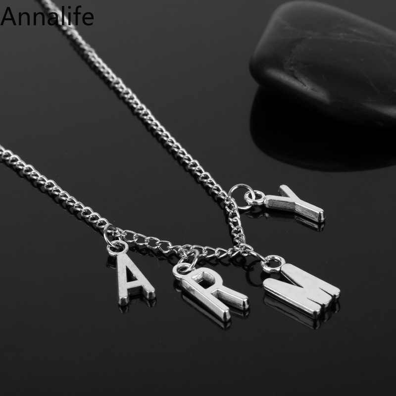 2019 New Jimin ARMY Letter Choker Necklaces for Women Men Kpop Bangtan Boys Jewelry Korean Show Your Love Gifts for Friend