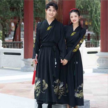 Couples Hanfu Chinese Ancient Vintage Traditional Black Dress Adult Halloween Costume Fancy Dress For Men/ Women Plus Size 2XL