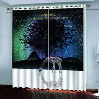 3D Blackout curtains custom Fantasy night sky animals For living room bedroom luxury european curtains