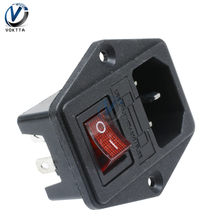 AC 250V 10A Black Red 3-Pin ON/OFF Terminal Power Socket switch with Fuse Holder 3 Terminal Power Socket(China)