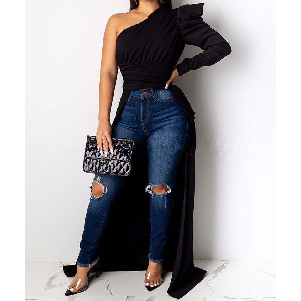 Solid Color One Shoulder Sexy Tops <font><b>Women</b></font> Asymmetric Collar Puff Sleeve Long <font><b>T</b></font>-<font><b>Shirt</b></font> Slim <font><b>High</b></font> <font><b>Low</b></font> <font><b>T</b></font> <font><b>Shirt</b></font> image