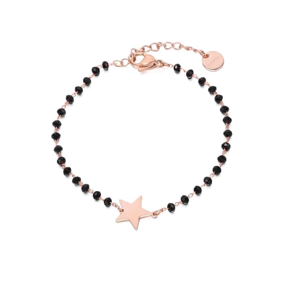 Aço inoxidável preto contas de cristal corrente pulseira rosa ouro coração estrela quatro trevo encantos pulseira para mulher 2019 aço jóias