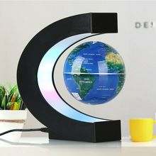 Novelty LED Night Magnetic Levitation Floating Earth Globe With C Shape Base LED World Map Ball Lamp Office Home Desk Decoration