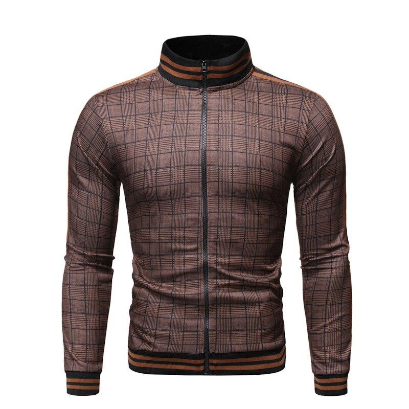 High Quality Plaid Jacket Coat Men's Baseball Jacket Spring Casual Fashion Hip Hop Striped Jacket Men Streetwear Chaqueta Hombre