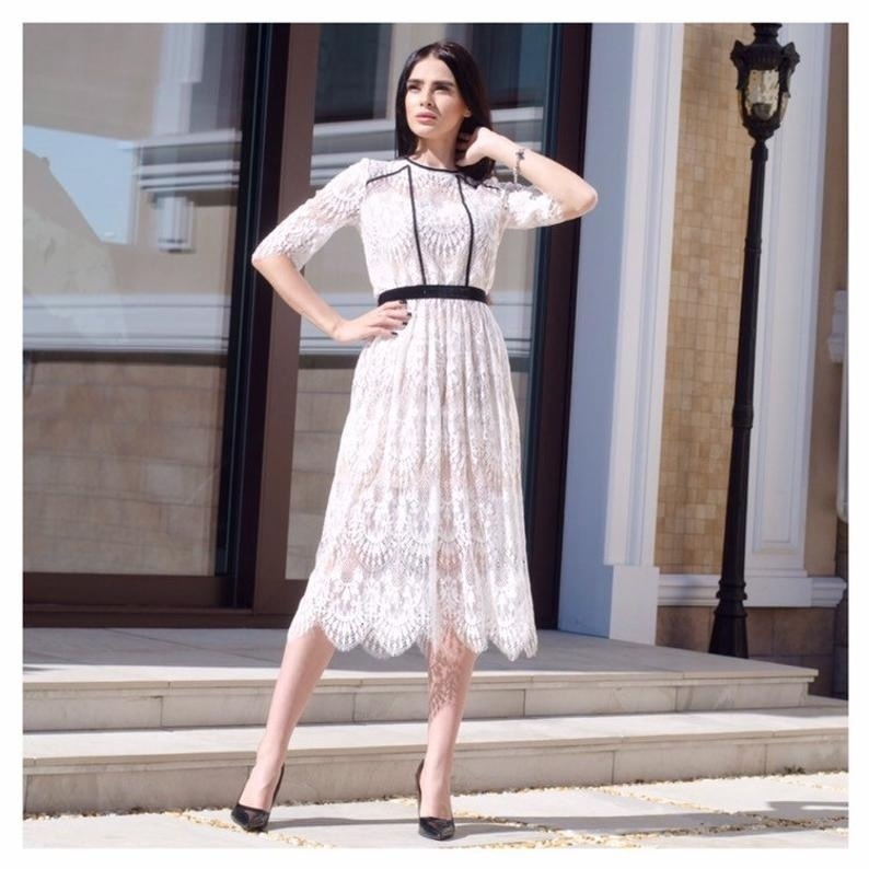 Hot autumn European and American hot new dress eBay Amazon Women's Lace Long Sleeve Dress