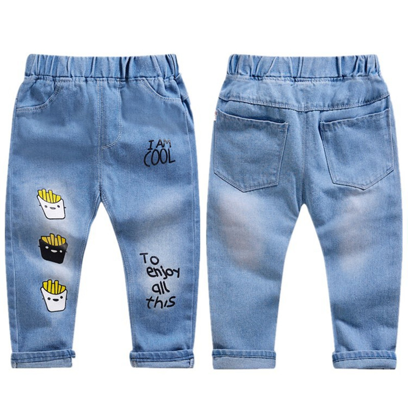 2021 Spring Boys Pants Print Pattern Trousers Girls Cartoon Ripped Pant Children Clothing Kids Clothes Baby Girl Birthday Jeans 4